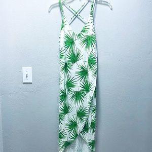 Fighting Eel Ava Sky White Palm Leaf Dress Sz S